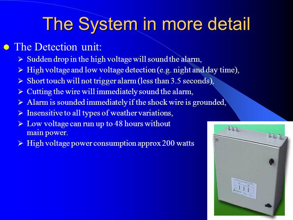 The System in more detail The Detection unit: Sudden drop in the high voltage will sound the alarm, High voltage and low voltage detection (e.g. night