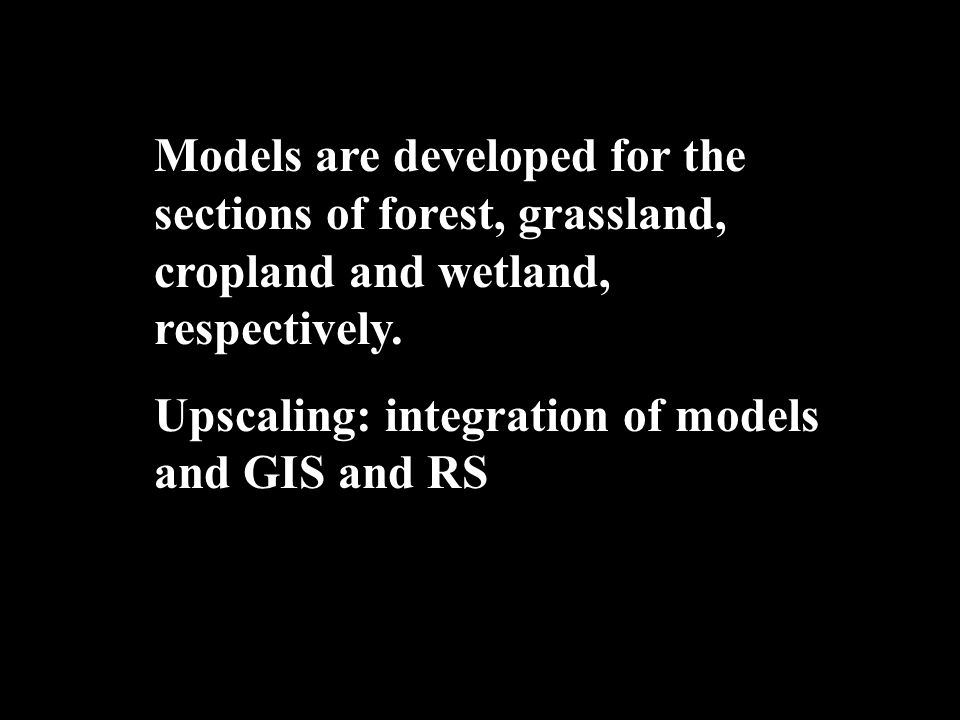 Models are developed for the sections of forest, grassland, cropland and wetland, respectively.
