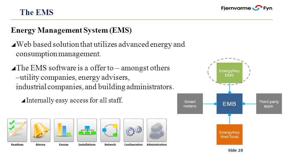 Side 28 The EMS Energy Management System (EMS) Web based solution that utilizes advanced energy and consumption management.