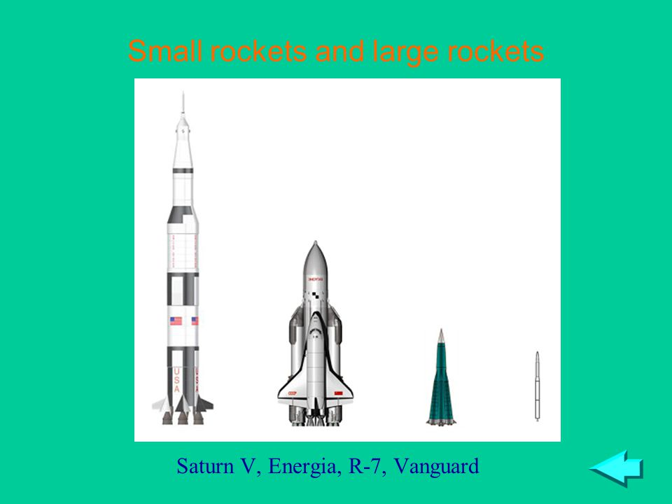 Small rockets and large rockets Saturn V, Energia, R-7, Vanguard