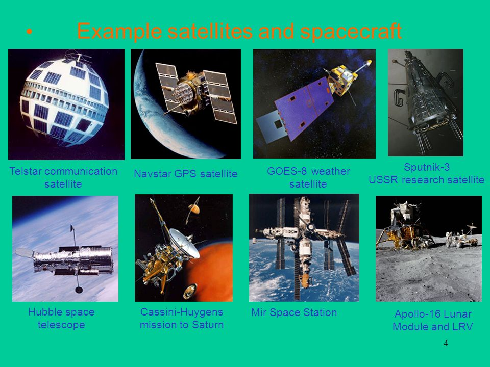4 Example satellites and spacecraft Navstar GPS satellite GOES-8 weather satellite Sputnik-3 USSR research satellite Hubble space telescope Cassini-Huygens mission to Saturn Apollo-16 Lunar Module and LRV Mir Space Station Telstar communication satellite