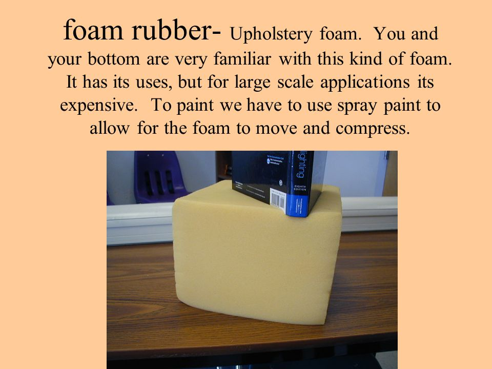 foam rubber- Upholstery foam. You and your bottom are very familiar with this kind of foam. It has its uses, but for large scale applications its expe
