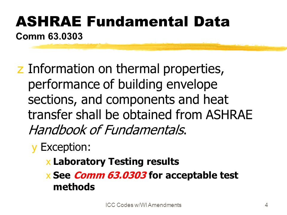 ICC Codes w/WI Amendments4 ASHRAE Fundamental Data Comm 63.0303 zInformation on thermal properties, performance of building envelope sections, and com
