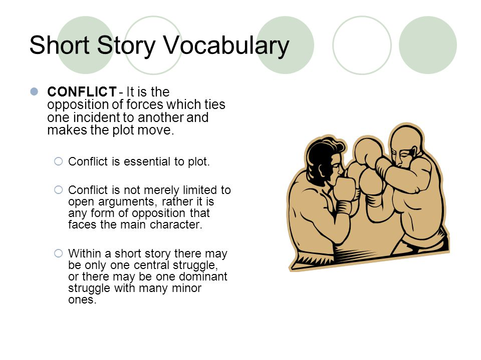 Short Story Vocabulary CONFLICT - It is the opposition of forces which ties one incident to another and makes the plot move. Conflict is essential to
