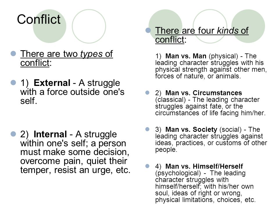 Conflict There are two types of conflict: 1) External - A struggle with a force outside one's self. 2) Internal - A struggle within one's self; a pers