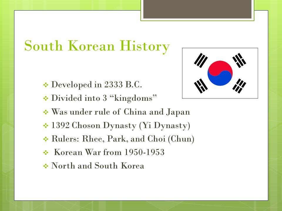 South Korean History Developed in 2333 B.C.