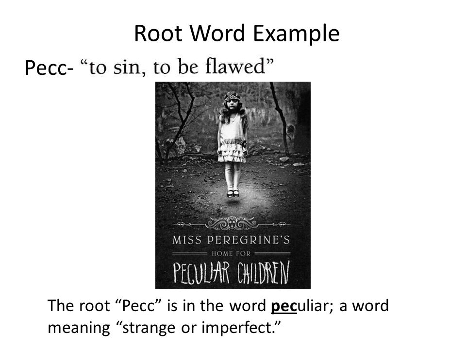 Root Word Example Pecc- The root Pecc is in the word peculiar; a word meaning strange or imperfect.