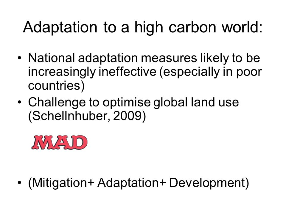 Adaptation to a high carbon world: National adaptation measures likely to be increasingly ineffective (especially in poor countries) Challenge to optimise global land use (Schellnhuber, 2009) (Mitigation+ Adaptation+ Development)