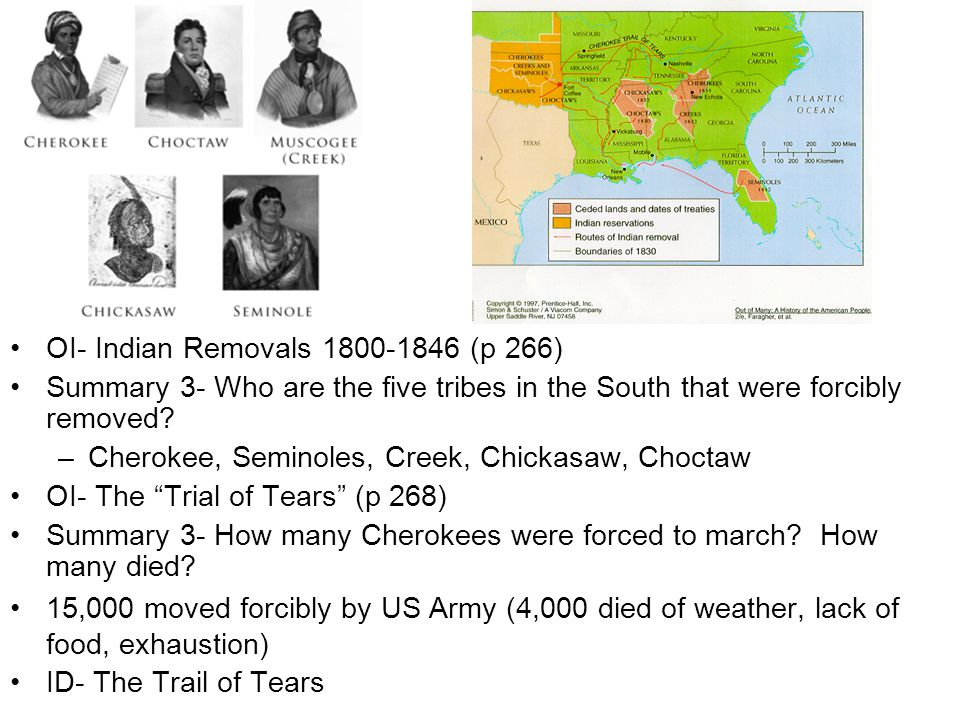 OI- Indian Removals 1800-1846 (p 266) Summary 3- Who are the five tribes in the South that were forcibly removed? –Cherokee, Seminoles, Creek, Chickas