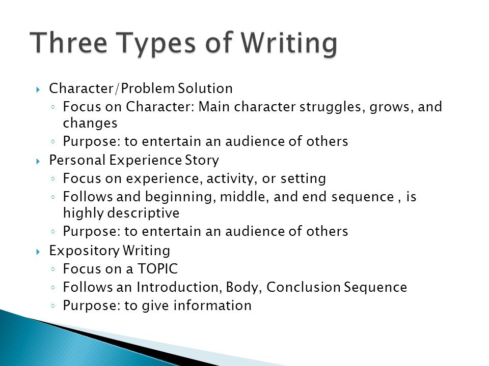 Character/Problem Solution Focus on Character: Main character struggles, grows, and changes Purpose: to entertain an audience of others Personal Experience Story Focus on experience, activity, or setting Follows and beginning, middle, and end sequence, is highly descriptive Purpose: to entertain an audience of others Expository Writing Focus on a TOPIC Follows an Introduction, Body, Conclusion Sequence Purpose: to give information