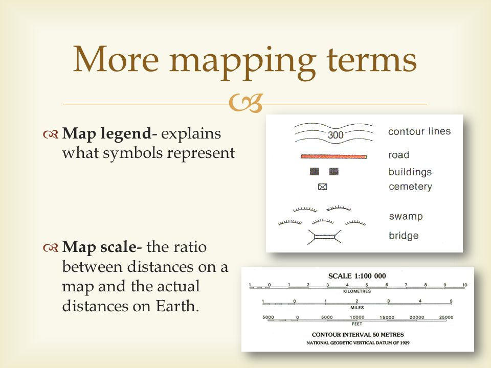 Map legend - explains what symbols represent Map scale - the ratio between distances on a map and the actual distances on Earth. More mapping terms