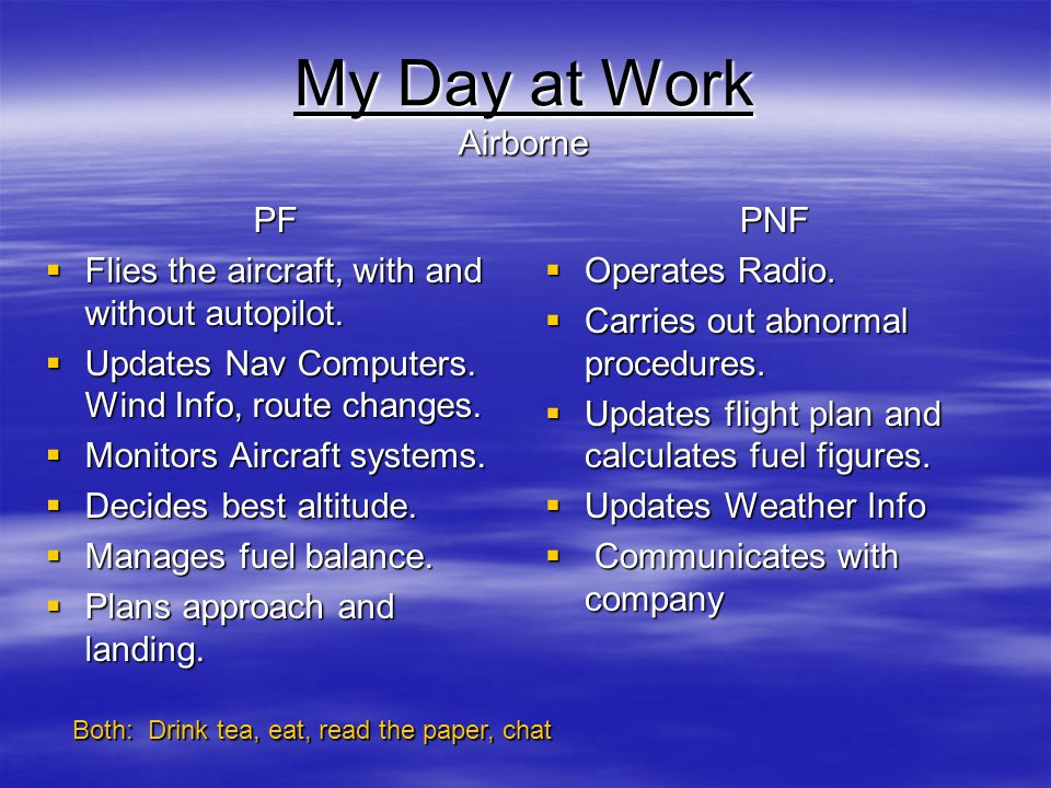 My Day at Work Airborne PF Flies the aircraft, with and without autopilot. Flies the aircraft, with and without autopilot. Updates Nav Computers. Wind