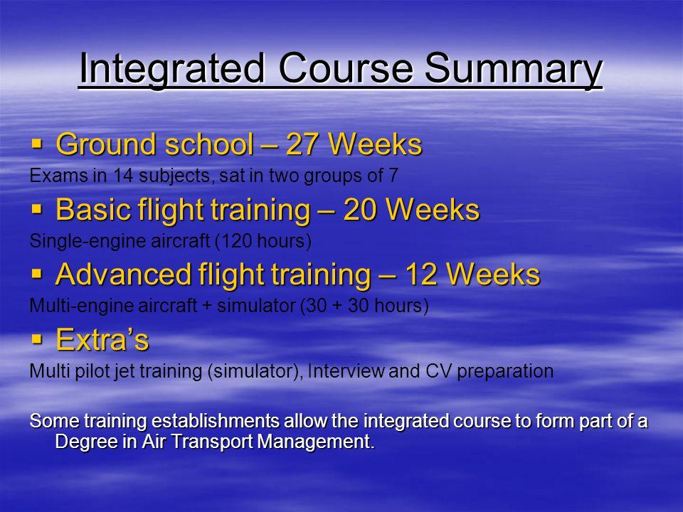Integrated Course Summary Ground school – 27 Weeks Ground school – 27 Weeks Exams in 14 subjects, sat in two groups of 7 Basic flight training – 20 We