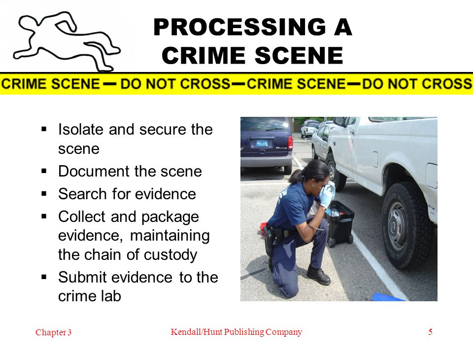 Chapter 3 Kendall/Hunt Publishing Company5 PROCESSING A CRIME SCENE Isolate and secure the scene Document the scene Search for evidence Collect and pa