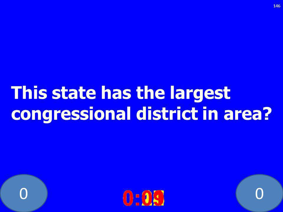 00 This state has the largest congressional district in area? 0:020:030:040:050:060:070:080:100:110:180:190:200:160:150:140:130:120:170:090:01 146