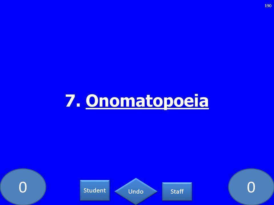 00 7. Onomatopoeia 190 Student Staff Undo