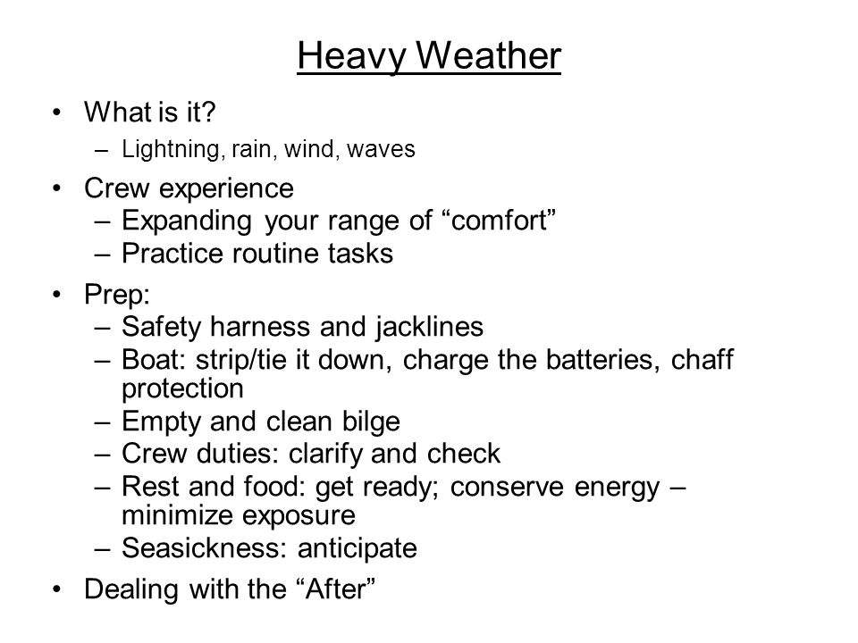Heavy Weather What is it.