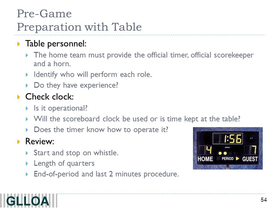 54 Pre-Game Preparation with Table Table personnel: The home team must provide the official timer, official scorekeeper and a horn. Identify who will