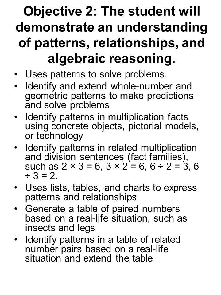 Objective 2: The student will demonstrate an understanding of patterns, relationships, and algebraic reasoning. Uses patterns to solve problems. Ident