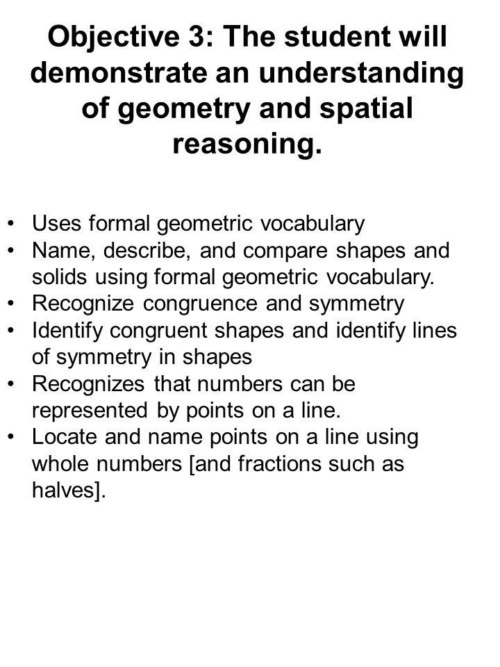 Objective 3: The student will demonstrate an understanding of geometry and spatial reasoning. Uses formal geometric vocabulary Name, describe, and com