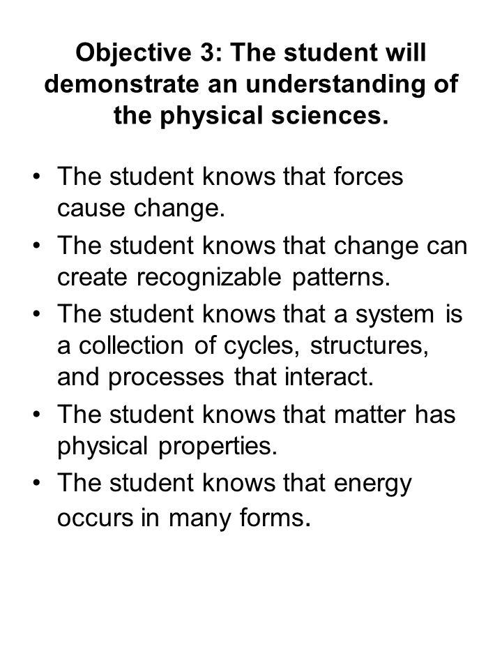Objective 3: The student will demonstrate an understanding of the physical sciences. The student knows that forces cause change. The student knows tha