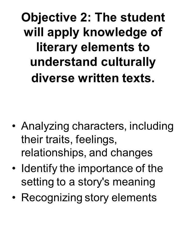 Objective 2: The student will apply knowledge of literary elements to understand culturally diverse written texts. Analyzing characters, including the
