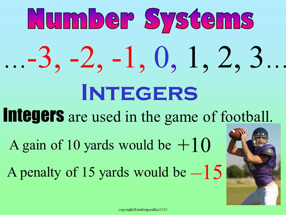 copyright©amberpasillas2010 Integers … -3, -2, -1, 0, 1, 2, 3 … Integers are used in the game of football. A gain of 10 yards would be +10 A penalty o