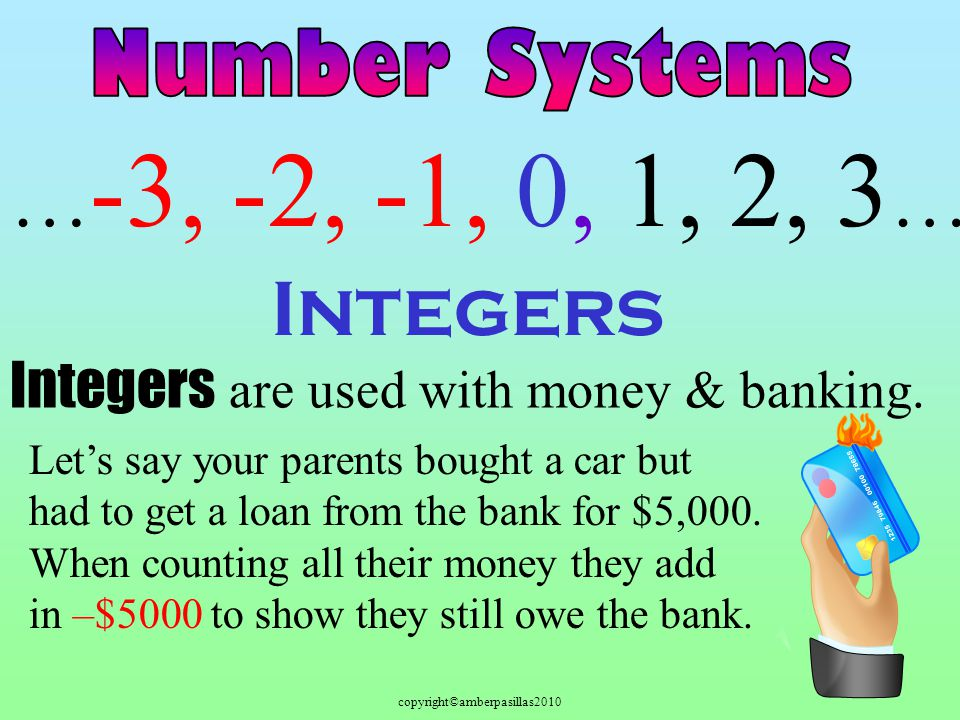 copyright©amberpasillas2010 Integers … -3, -2, -1, 0, 1, 2, 3 … Integers are used with money & banking. Lets say your parents bought a car but had to