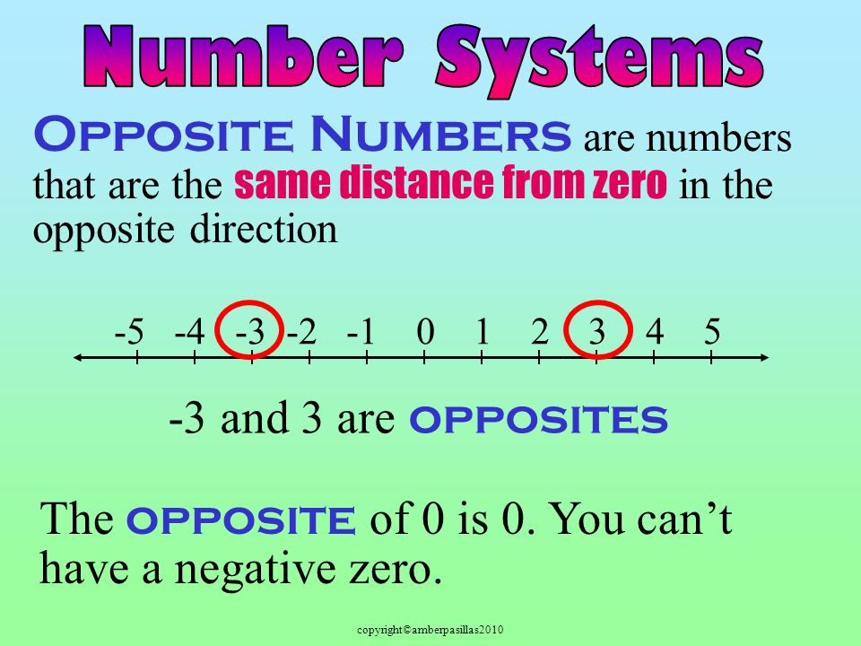 copyright©amberpasillas2010 Opposite Numbers are numbers that are the same distance from zero in the opposite direction -5 -4 -3 -2 -1 0 1 2 3 4 5 -3 and 3 are opposites The opposite of 0 is 0.