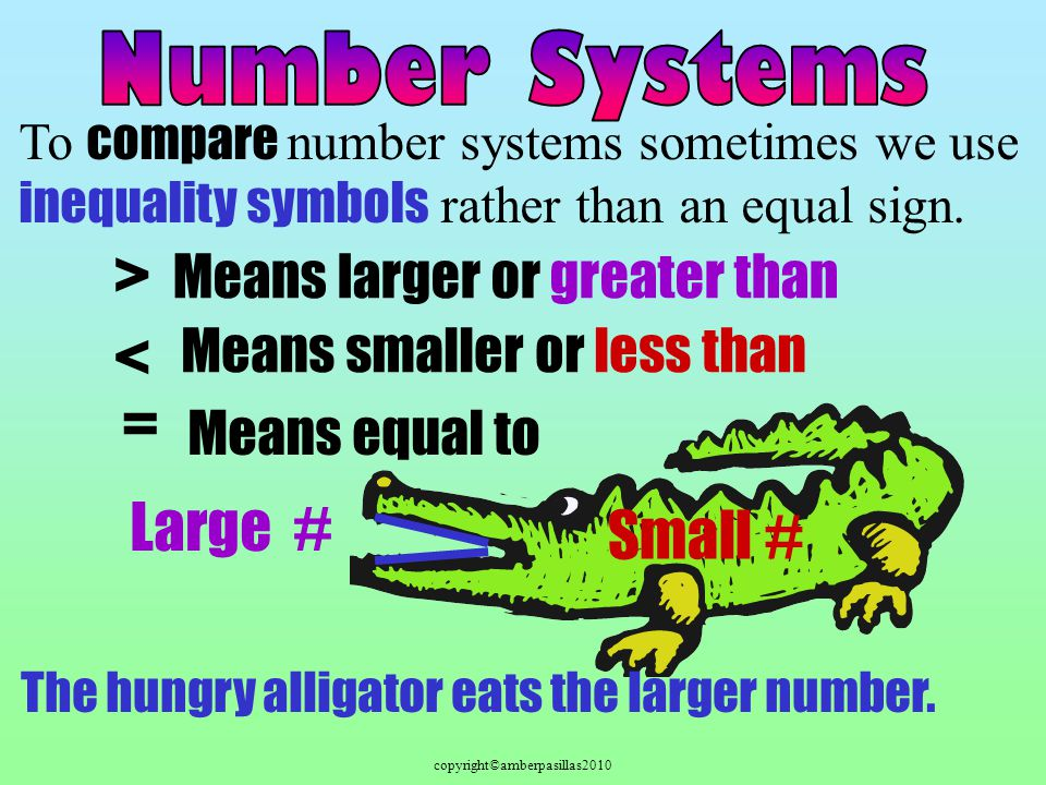 copyright©amberpasillas2010 To compare number systems sometimes we use inequality symbols rather than an equal sign.
