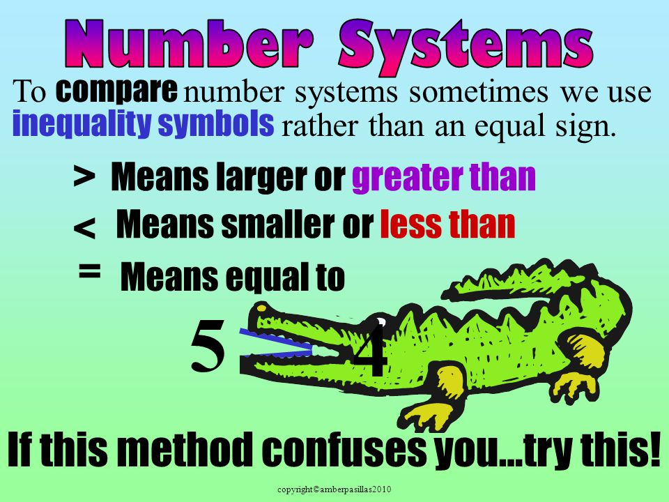 copyright©amberpasillas2010 To compare number systems sometimes we use inequality symbols rather than an equal sign. Means larger or greater than Mean