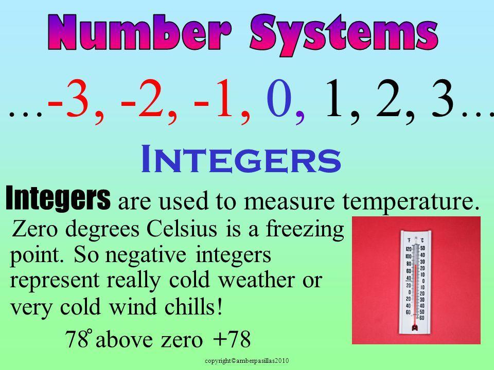 copyright©amberpasillas2010 Integers … -3, -2, -1, 0, 1, 2, 3 … Integers are used to measure temperature.