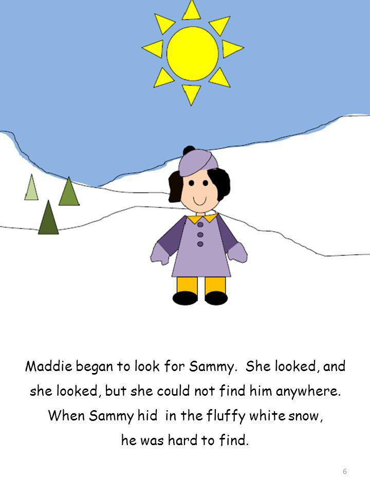 Maddie began to look for Sammy. She looked, and she looked, but she could not find him anywhere. When Sammy hid in the fluffy white snow, he was hard