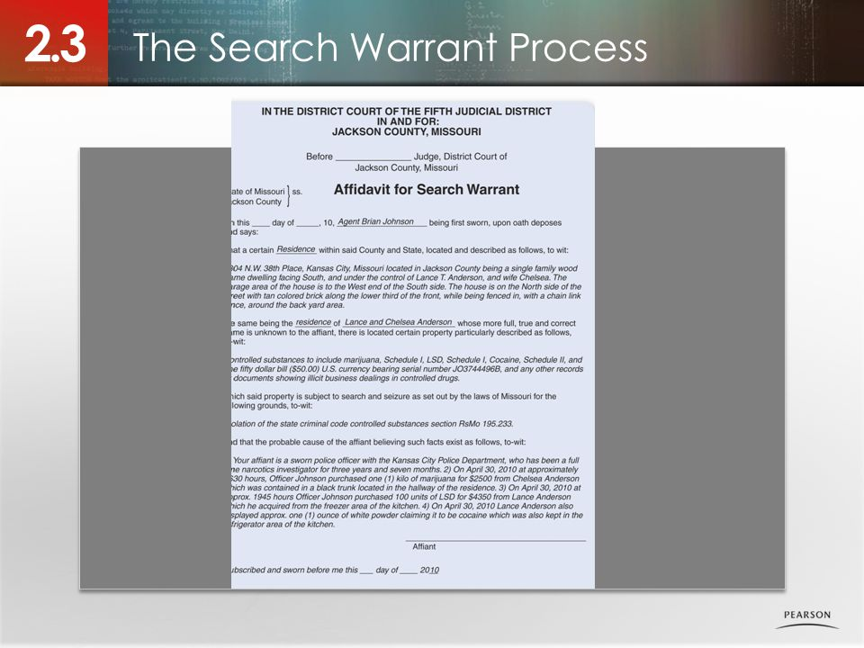 The Search Warrant Process 2.3 Photo placeholder