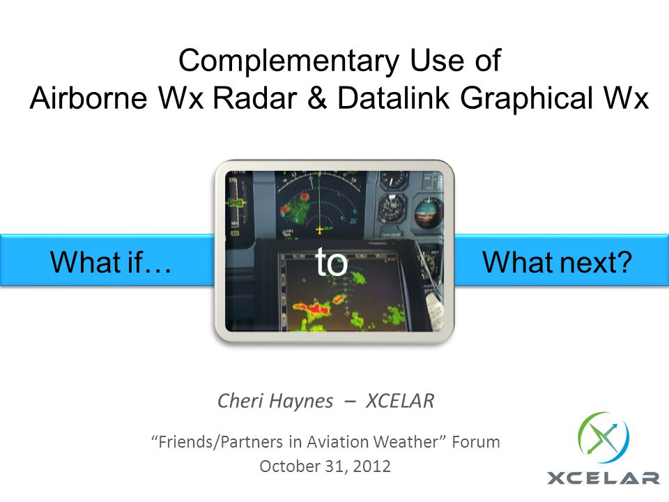 Complementary Use of Airborne Wx Radar & Datalink Graphical Wx Cheri Haynes – XCELAR Friends/Partners in Aviation Weather Forum October 31, 2012 What if…What next.
