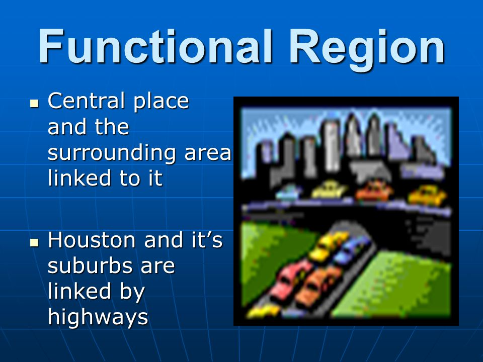 Central place and the surrounding area linked to it Central place and the surrounding area linked to it Houston and its suburbs are linked by highways