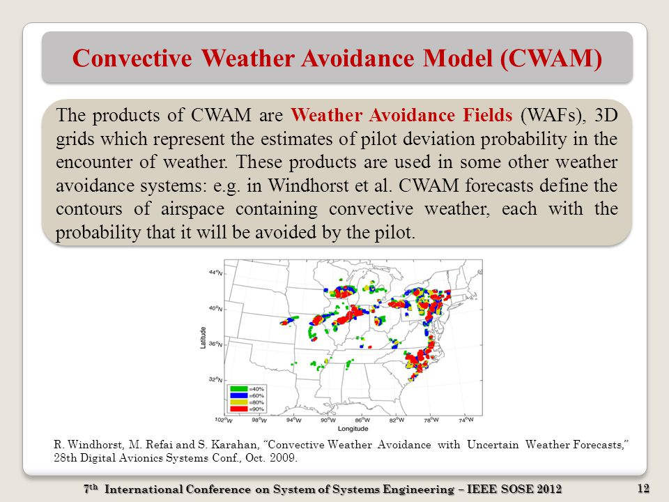 7 th International Conference on System of Systems Engineering – IEEE SOSE 2012 12 Convective Weather Avoidance Model (CWAM) The products of CWAM are