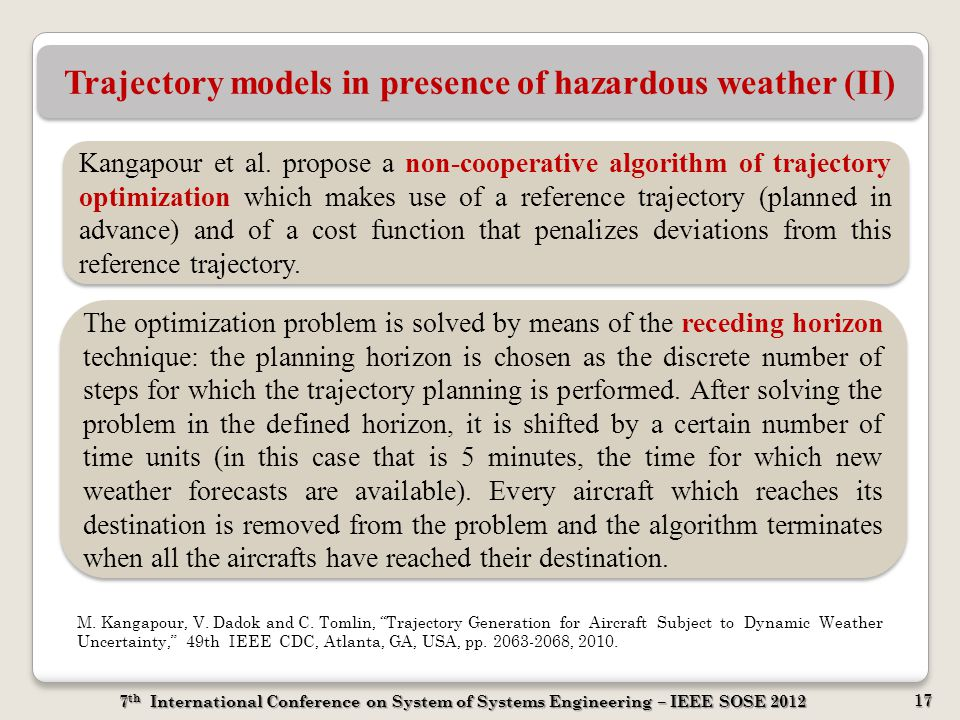 7 th International Conference on System of Systems Engineering – IEEE SOSE 2012 17 Trajectory models in presence of hazardous weather (II) Kangapour e