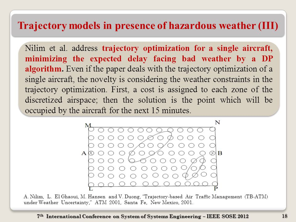 7 th International Conference on System of Systems Engineering – IEEE SOSE 2012 18 Trajectory models in presence of hazardous weather (III) Nilim et a