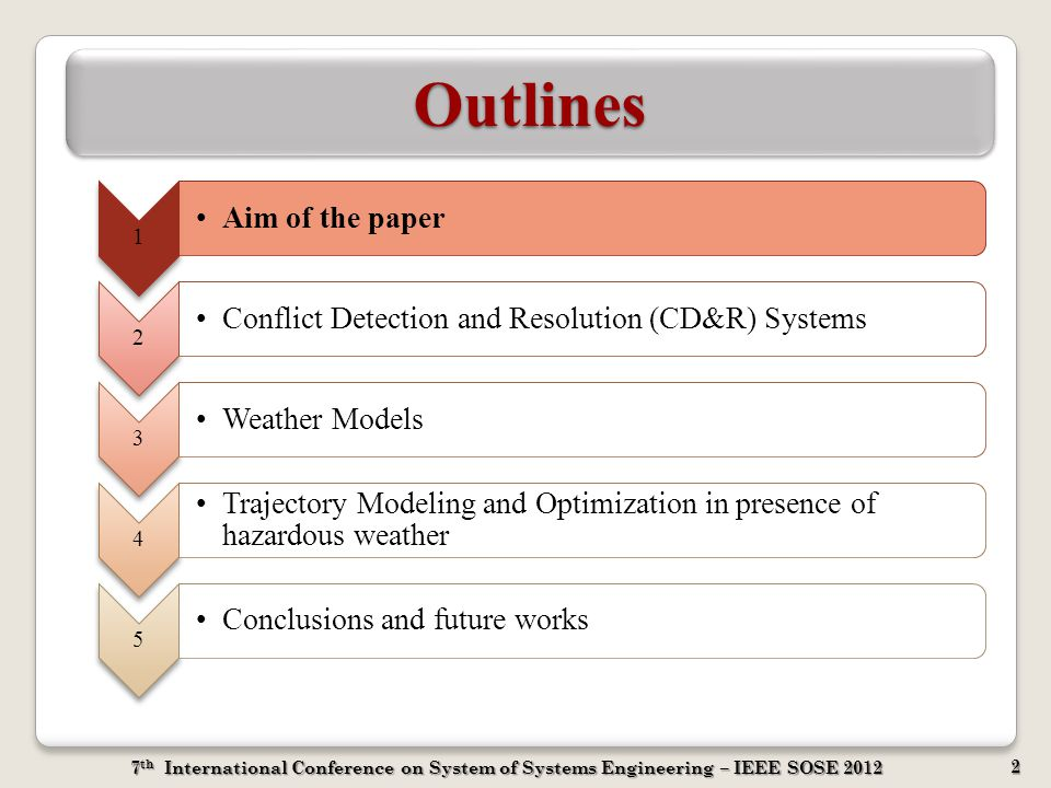 7 th International Conference on System of Systems Engineering – IEEE SOSE 2012 2 OutlinesOutlines 1 Aim of the paper 2 Conflict Detection and Resolut