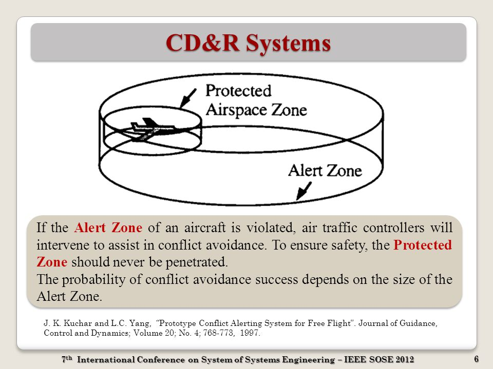 7 th International Conference on System of Systems Engineering – IEEE SOSE 2012 6 CD&R Systems If the Alert Zone of an aircraft is violated, air traff