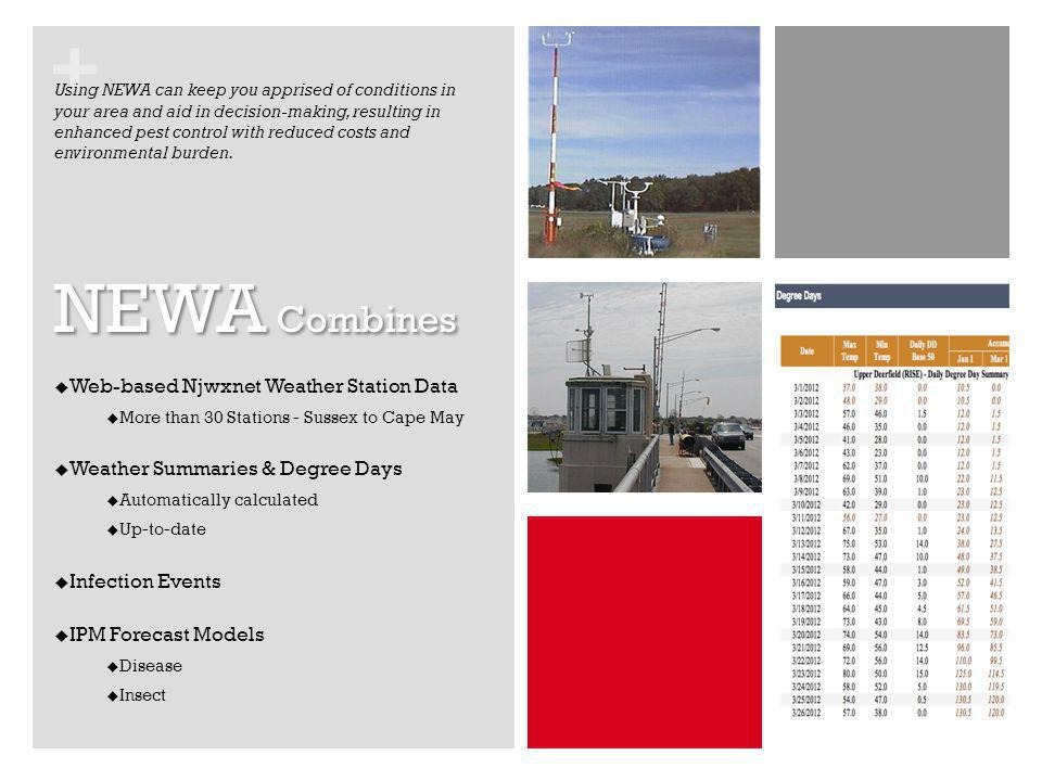 + NEWA Combines Web-based Njwxnet Weather Station Data More than 30 Stations - Sussex to Cape May Weather Summaries & Degree Days Automatically calcul