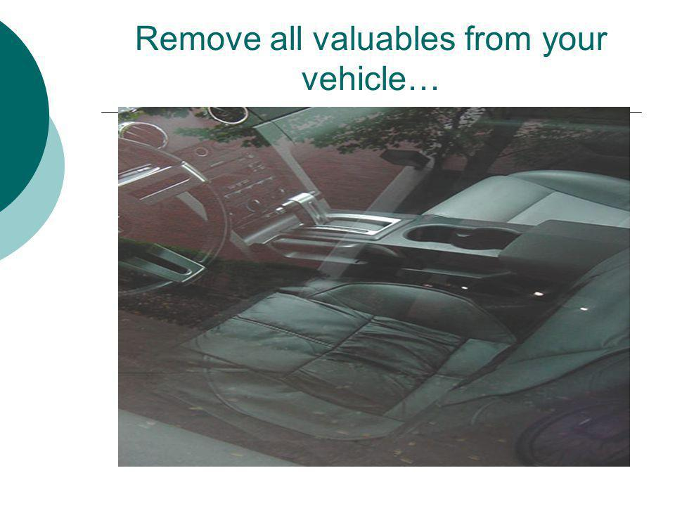 Remove all valuables from your vehicle…