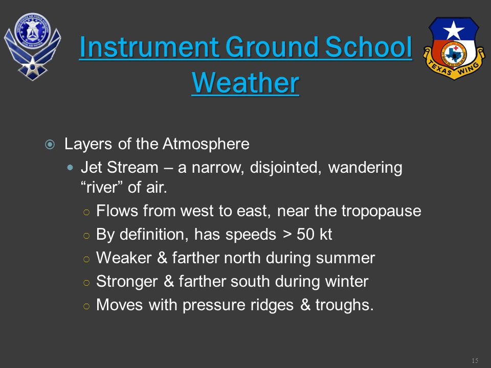 Layers of the Atmosphere Jet Stream – a narrow, disjointed, wandering river of air. Flows from west to east, near the tropopause By definition, has sp