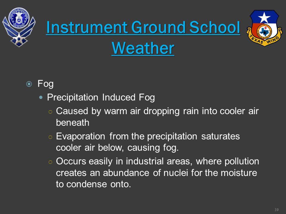 Fog Precipitation Induced Fog Caused by warm air dropping rain into cooler air beneath Evaporation from the precipitation saturates cooler air below,