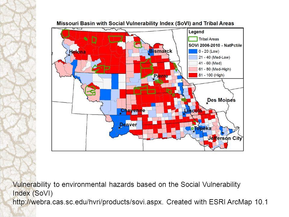 Vulnerability to environmental hazards based on the Social Vulnerability Index (SoVI) http://webra.cas.sc.edu/hvri/products/sovi.aspx. Created with ES