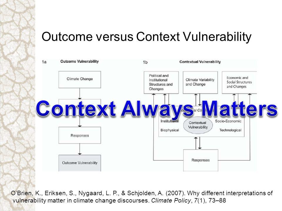 Outcome versus Context Vulnerability OBrien, K., Eriksen, S., Nygaard, L. P., & Schjolden, A. (2007). Why different interpretations of vulnerability m
