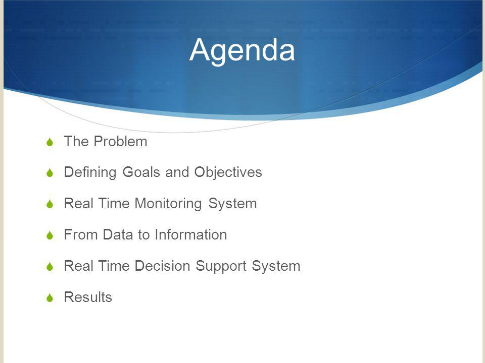 Agenda The Problem Defining Goals and Objectives Real Time Monitoring System From Data to Information Real Time Decision Support System Results