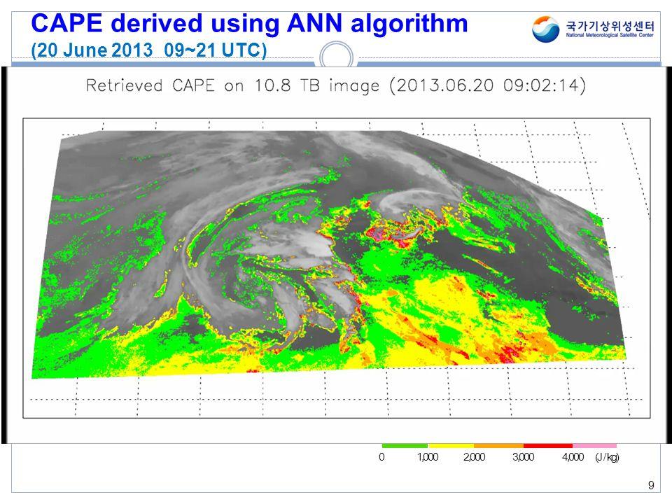 CAPE derived using ANN algorithm (20 June 2013 09~21 UTC) 9 1,0002,0004,000 (J / kg)03,000