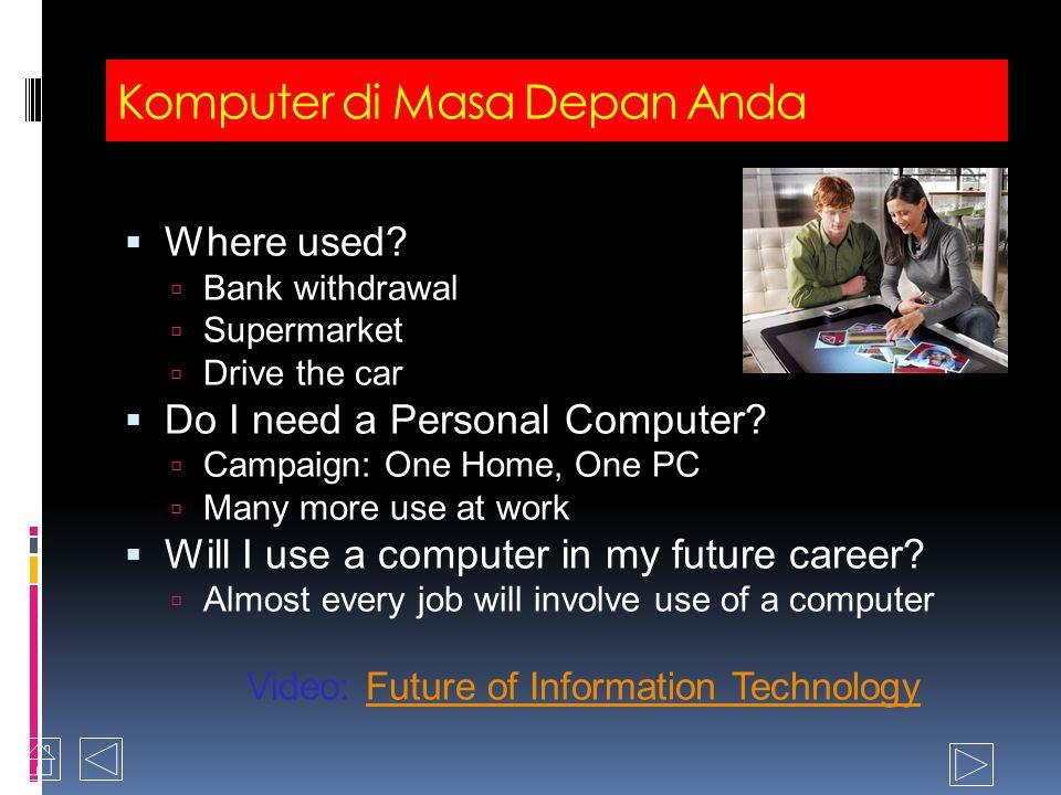 Jobs Tempa masyarakat berbasis komputer From physical to mental From muscle-power to brain-power